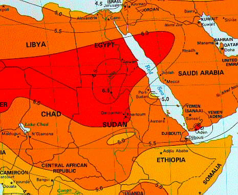 Solar Insolation Map Northeast Africa