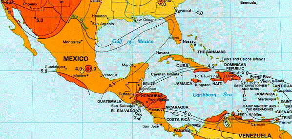 Map Of America And Caribbean.Solar Insolation Map Mexico Central America Carribean