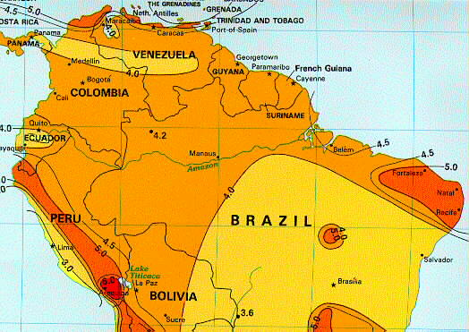 Solar Insolation Map Northern South America