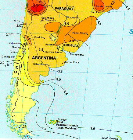 Solar Insolation Map Southern South America - Us insolation map