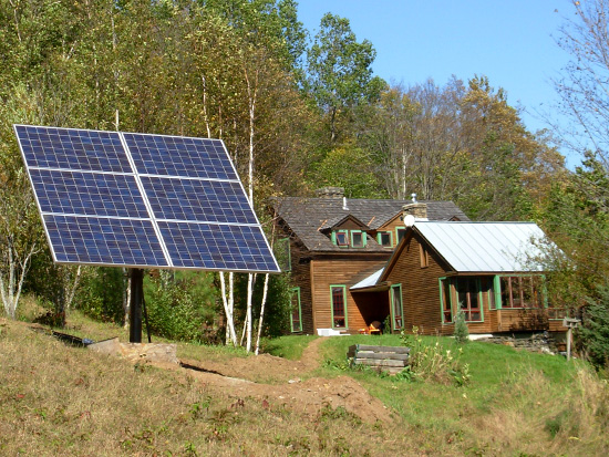 An off-grid pole-mounted solar array