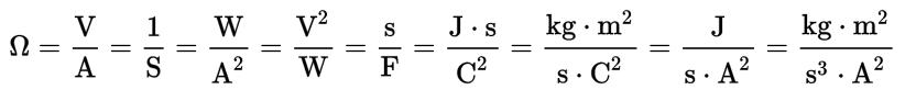 Formula for Ohm.