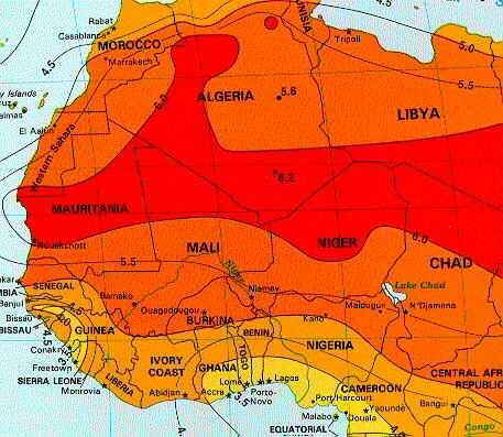 Solar Insolation Map   Northwest Africa